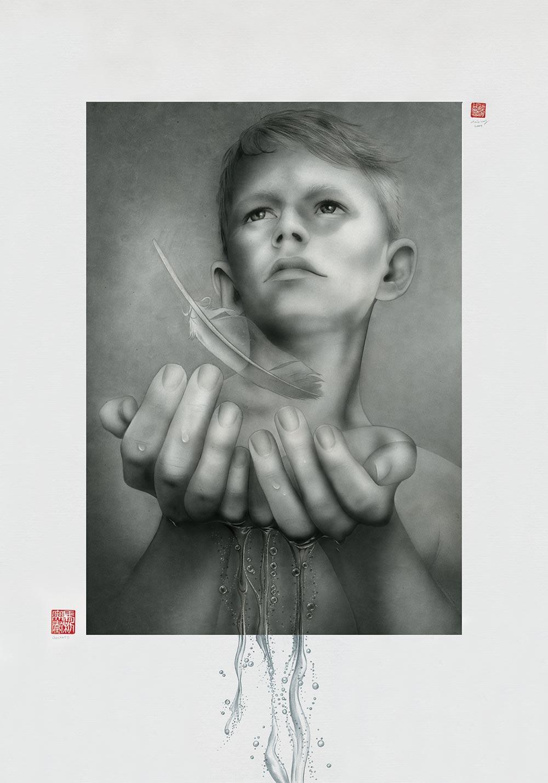 Ganymed - Airbrush Zeichnung von Mario Wolf